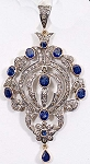 Art Deco Pendant 2 Ct Uncut Natural Certified Diamond 925 Sterling Silver Workwear