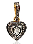 Vintage Art Deco Pendant 0.75 Ct Uncut Natural Certified Diamond 925 Sterling Silver Engagement