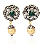 Rose Cut Earrings 3.5 Ct Uncut Natural Certified Diamond 925 Sterling Silver Festive