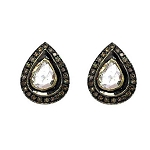 Victorian Drop Earrings 1.8 Ct Uncut Natural Certified Diamond 925 Sterling Silver Engagement