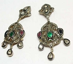 Victorian Drop Earrings 3.32 Ct Uncut Natural Certified Diamond 925 Sterling Silver Wedding