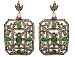 Victorian Diamond Earrings 2.56 Ct Uncut Natural Certified Diamond 925 Sterling Silver Festive