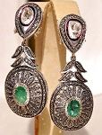 Vintage Drop Earrings 4.26 Ct Uncut Natural Certified Diamond 925 Sterling Silver Engagement