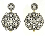 Antique Earrings 3.96 Ct Uncut Natural Certified Diamond 925 Sterling Silver Anniversary
