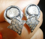 Victorian Earrings 0.96 Ct Uncut Natural Certified Diamond 925 Sterling Silver Anniversary
