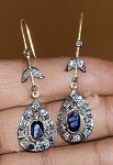 Antique Drop Earrings 1.02 Ct Uncut Natural Certified Diamond 925 Sterling Silver Everyday