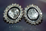 Art Deco Earrings 1.5 Ct Uncut Natural Certified Diamond 925 Sterling Silver Workwear
