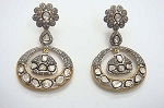 Victorian Diamond Earrings 4.1 Ct Uncut Natural Certified Diamond 925 Sterling Silver Everyday