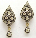 Vintage Diamond Earrings 1.9 Ct Uncut Natural Certified Diamond 925 Sterling Silver Party