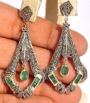 Victorian Diamond Earrings 3.2 Ct Uncut Natural Certified Diamond 925 Sterling Silver Office Wear