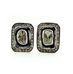 Victorian Drop Earrings 1.15 Ct Uncut Natural Certified Diamond 925 Sterling Silver Office Wear