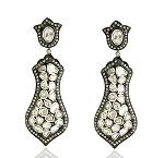 Antique Earrings 5.66 Ct Uncut Natural Certified Diamond 925 Sterling Silver Party
