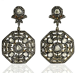 Antique Diamond Earrings 4.3 Ct Uncut Natural Certified Diamond 925 Sterling Silver Workwear
