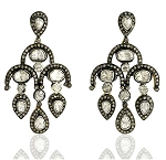 Art Deco Earrings 4.4 Ct Uncut Natural Certified Diamond 925 Sterling Silver Office Wear