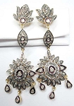 Rose Cut Earrings 4.26 Ct Uncut Natural Certified Diamond 925 Sterling Silver Weekend