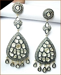 Victorian Earrings 4.8 Ct Uncut Natural Certified Diamond 925 Sterling Silver Workwear