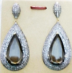 Antique Drop Earrings 2.4 Ct Uncut Natural Certified Diamond 925 Sterling Silver Party