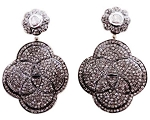 Rose Cut Earrings 3.45 Ct Uncut Natural Certified Diamond 925 Sterling Silver Vacation