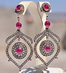 Antique Drop Earrings 3.95 Ct Uncut Natural Certified Diamond 925 Sterling Silver Workwear