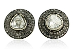 Antique Drop Earrings 1.5 Ct Uncut Natural Certified Diamond 925 Sterling Silver Vacation