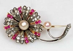 Bridal Brooches 1.5 Ct Uncut Sterling Silver Vintage & Antique Jewelry Natural Certified