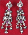 Antique Earrings 3.2 Ct Uncut Natural Certified Diamond 925 Sterling Silver Party