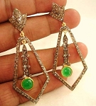 Antique Drop Earrings 2.8 Ct Uncut Natural Certified Diamond 925 Sterling Silver Weekend