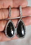 Antique Diamond Earrings 1.6 Ct Uncut Natural Certified Diamond 925 Sterling Silver Special Occasion