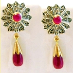 Uncut Earrings 1.00 Ct Rose Cut Natural Certified Diamond 2.50Ct Ruby 925 Sterling Silver Anniversary