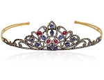 Queen Crown 13.00 Carat Natural Rose Cut Certified Diamond Ruby Sapphire Sterling Silver Headband
