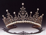 Wedding Headband 42.00 Carat Natural Rose Cut Certified Diamond Pearl Sterling Silver Brithday Tiara