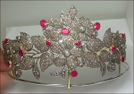 Bridal Tiara 23.00 Carat Natural Rose Cut Certified Diamond Ruby Sterling Silver Queen Crown
