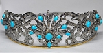 Birthday Tiara 34.00 Carat Natural Rose Cut Certified Diamond Turquoise Sterling Silver Headband