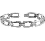 1.60 Carat Natural Diamond White Gold Bracelet For Men'S