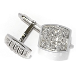 0.80 Carat Natural Diamond White Gold Men'S Cufflinks