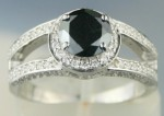Black Stone Engagement Rings 1.89 Ct Black & White Diamond Round Shape Sterling Silver Solitaire