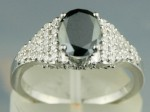 Black Diamond Rings 1.71 Ct Black & White Diamond Oval Shape Sterling Silver Solitaire