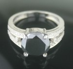 Black Diamond Engagement Rings 4.93 Ct Black & White Diamond Round Shape Sterling Silver Solitaire