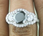 Cheap Black Diamond Engagement Rings 3.57 Ct Black & White Diamond Round Shape Sterling Silver Solitaire