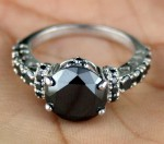 Black Diamond Engagement Rings 4.38 Ct Black Diamond Round Shape Sterling Silver Solitaire