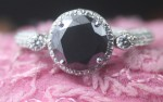 Black Diamond Engagement Rings 4.26 Ct Black & White Diamond Round Shape Sterling Silver Solitaire