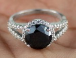 Cheap Black Diamond Engagement Rings 3.71 Ct Black & White Diamond Round Shape Sterling Silver Solitaire