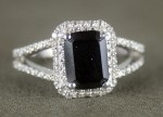 Black Stone Engagement Rings 3.06 Ct Black & White Diamond Radiant Shape Sterling Silver Solitaire