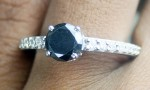 Black Stone Engagement Rings 1.81 Ct Black & White Diamond Round Shape Sterling Silver Solitaire