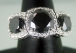 Enhanced Black Diamond Ring 6.91 Ct Black & White Diamond Round Shape Sterling Silver Solitaire