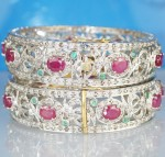 Polki Bangles 13.68 Ct Natural Certified Diamond Ruby Emerald Gold Wedding