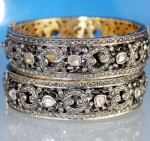 Antique Diamond Bangle 15.00 Ct Uncut Natural Certified Diamond 14K Gold Workwear