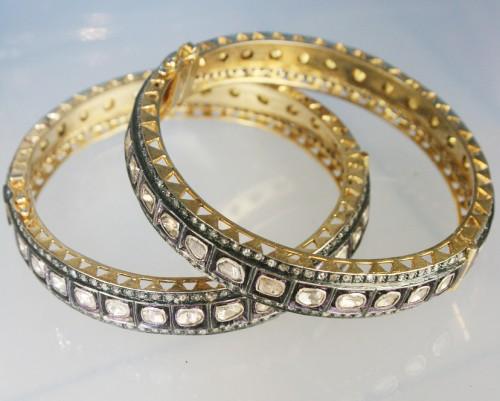 Vintage Diamond Bangle 10 90 Ct Uncut Diamond 14K Gold