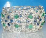 Art Deco Diamond Bracelet 14.10 Ct Natural Certified Diamond Gold Gemstone Party