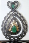 Vintage Pendants 2.36 Ct Natural Certified Diamond Emerald 925 Sterling Silver Engagement